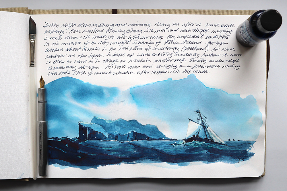 Art Journaling with just one ink – FOUNTAIN PEN INK ART